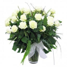 Florero para Condolencias de 24 Rosas Blancas