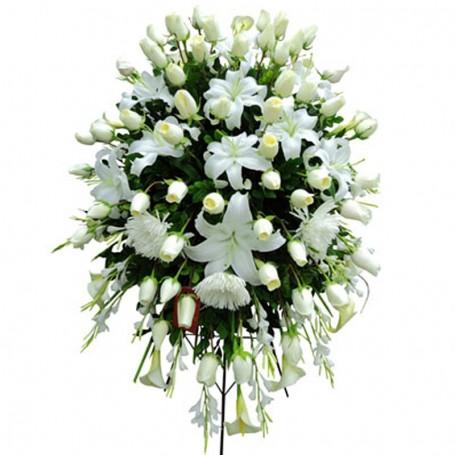 Flores Condolencias Grande Rosas y Liliums Blancas