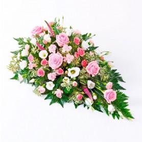 Cubre Urna con 6 Rosas Rosadas y mix de Flores Rosas