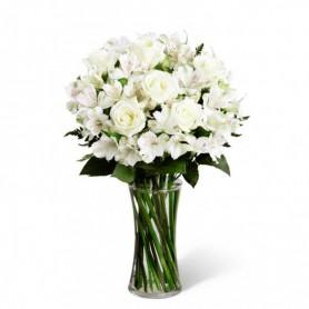 Florero para Condolencias de 8 Rosas y Astromelias Blancas