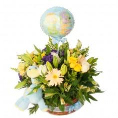 Canastillo para Nacimiento de Niños con Flores