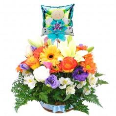 Canastillo Nacimiento con Rosas y Flores Mix Primaverales con Globo Es un Niño