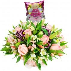 Flores Nacimiento Rosas Rosadas Liliums Astromelias con Globo