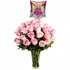 Florero Nacimiento 24 Rosas Rosadas con Globo es una Niña