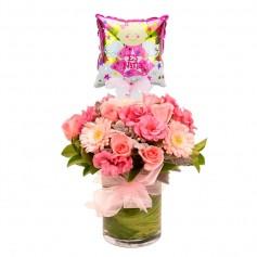 Florero Nacimiento tonos Rosas con Globo Niña