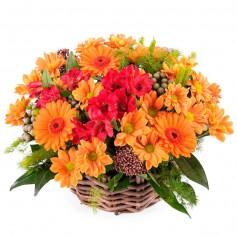 Canastillo Mix de Flores tono Naranjo
