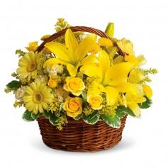Canastillo 12 Rosas y Liliums Amarillos