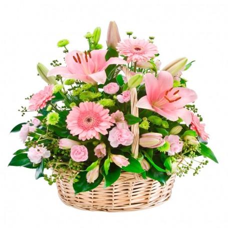 Canastillo Grande de Flores Liliums y Gerberas color Rosadas