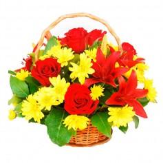 Canastillo de Flores con Rosas y Liliums Rojos