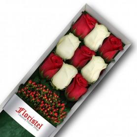 Caja de 9 Rosas Rojas y Blancas