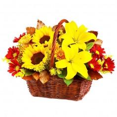 Canastillo Mediano de Flores con Girasoles