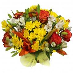 Canastillo Mediano con Liliums Rosas y Flores Mix tonos Naranjas