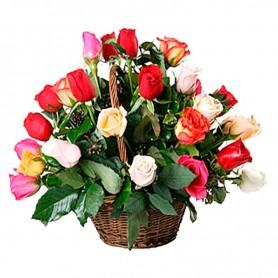 Canastillo de 24 Rosas Multicolor
