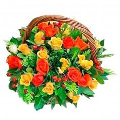 Canastillo de 24 Rosas Amarillas y Rojas