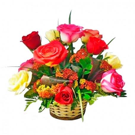 Canastillo 12 Rosas y Flores Mix