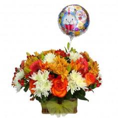 Cesta de Cumpleaños Flores Naranja + Globo