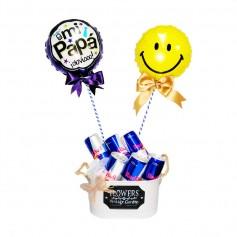 Cubeta con 6 Energéticas Red Bull y 2 Globos para el Día del padre