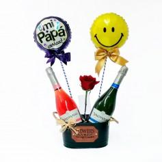 Cubeta con 2 Espumantes Brut y Rose más 2 Globos con 1 Rosa para el Día del Padre