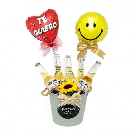Cubeta con 6 Cervezas Corona de 355ml y 2 Globos