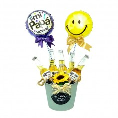 Cubeta con 6 Cervezas Corona de 355ml y 2 Globos para el Día del Padre