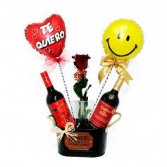 Cubeta con Vinos Diablo y Casillero del Diablo 1 Rosa y 2 Globos