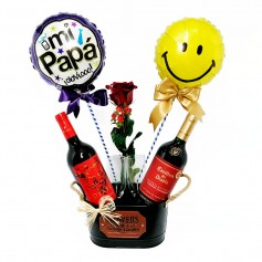 Cubeta con Vinos Diablo y Casillero del Diablo 1 Rosa más 2 Globos para el día del Padre