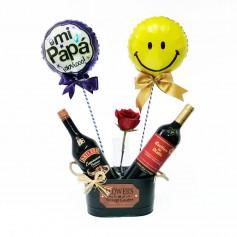 Cubeta con 1 Vino Casillero del Diablo mas 1 Baileys Espresso 1 Rosa y 2 Globos para el Día del Padre
