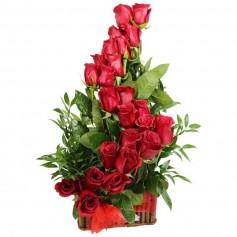 Canastillo 24 Rosas Rojas Ascendente