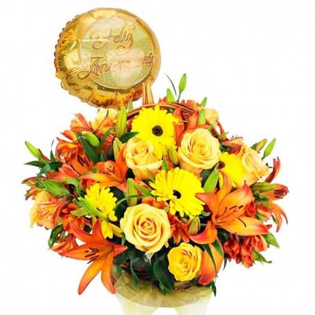 Flores para Aniversario Garberas liliums y Rosas más Globo