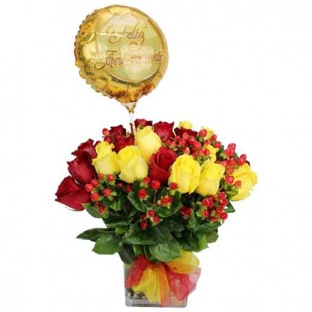 Florero Aniversario 24 Rosas Rojas y Amarillas + Globo