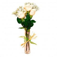 Florero Condolencias Presencia 3 Rosas Blancas