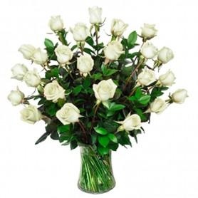 Florero de Condolencias 30 Rosas Blancas