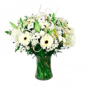 Florero de Condolencias Flores Gerberas y Lilums Blancos