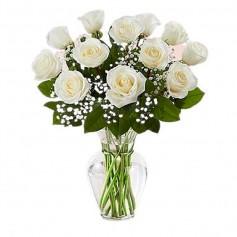 Florero Condolencias 12 Rosas Blancas