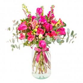 Florero Rústico con Flores mix Rosadas Eucalipto 6 rosas Astromelias Limonios y Flores Silvestres