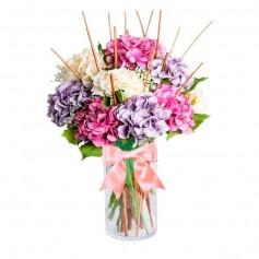 Florero con 8 Hortensias más Flores mix