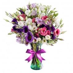 Florero con 20 Lisianthus multicolor más Flores mix