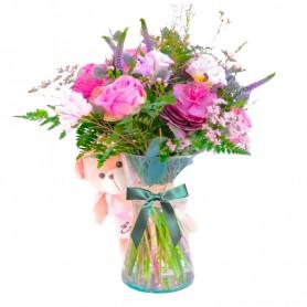 Florero con flores Rústicas en Tonos rosados palmillas más Peluche