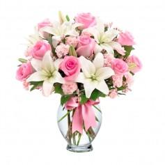 Florero con 12 Rosas Rosadas y 10 Liliums blancos y Claveles