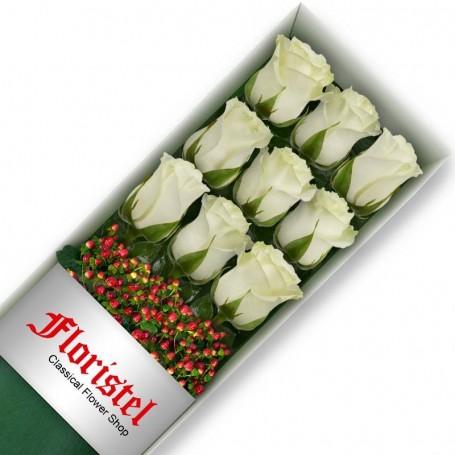 Caja de 9 Rosas Blancas