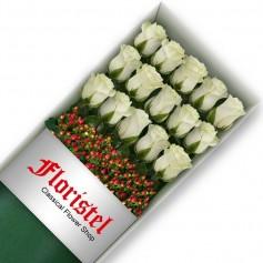 Caja de 15 Rosas Blancas