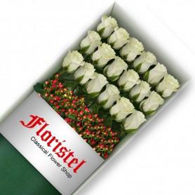 Caja de 18 Rosas Blancas