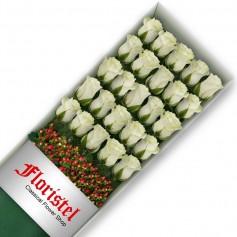 Caja de 25 Rosas Blancas