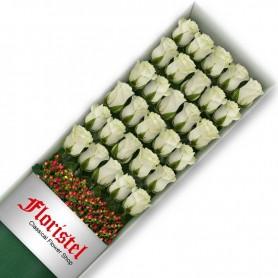 Caja de 30 Rosas Blancas