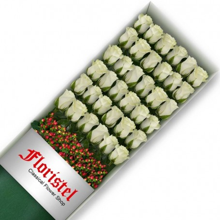 Caja de 36 Rosas Blancas