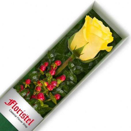 Caja de 1 Rosa Amarilla