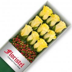 Caja de 9 Rosas Amarillas