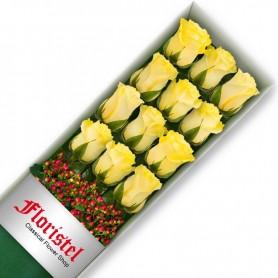 Caja de12 Rosas Amarillas