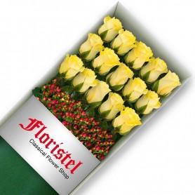 Caja de15 Rosas Amarillas