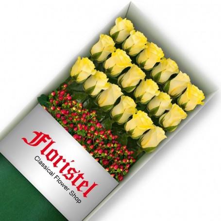Caja de 18 Rosas Amarillas